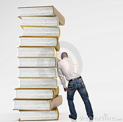 Man push book pile