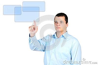Man pushing a button