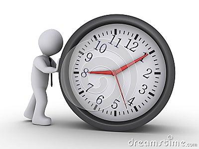 Man pushing clock