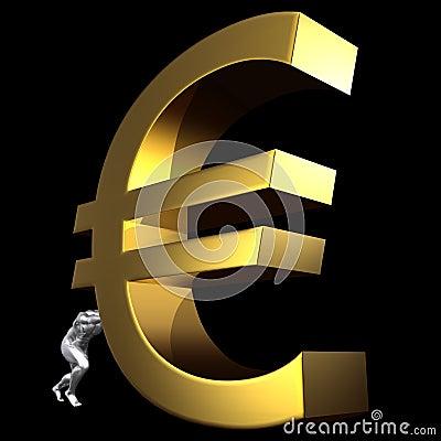 Man pushing euro sign