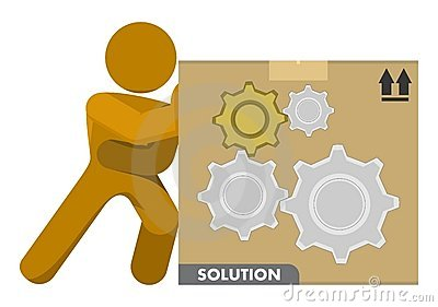 Man Pushing Gear Wheels Solution Box Illustration