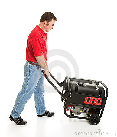 Man Pushing Portable Generator