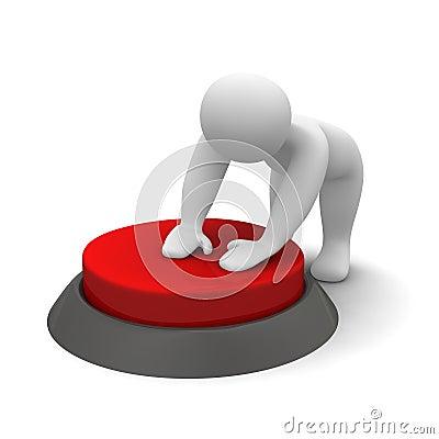 Man pushing red button