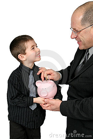 Man puting Money in Boys Piggy Bank