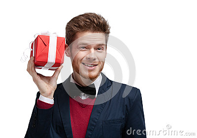 Man puts his ear to present