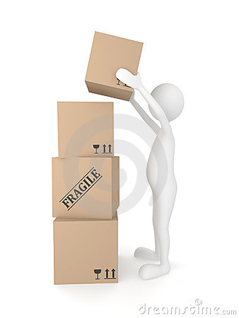 Man putting cardboard box