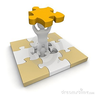 Man and puzzle
