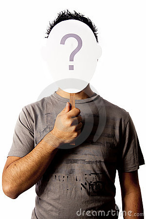 Man and a question mark mask