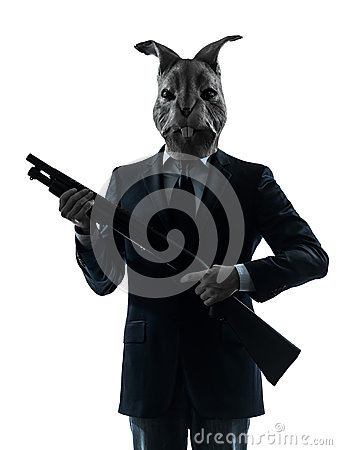 Man with rabbit mask shotgun silhouette