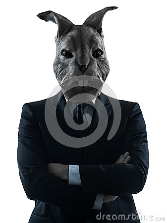 Man with rabbit mask silhouette portrait