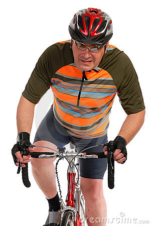 Man on race road bike