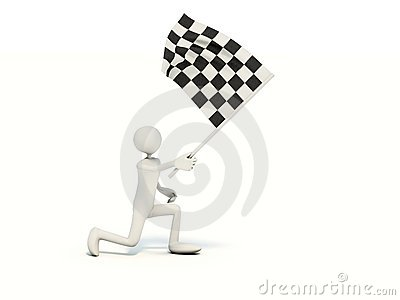 Man with racing flag