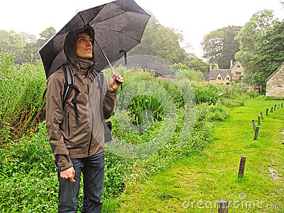 Man in the rain with umbrella
