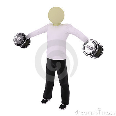 Man raise hands with dumbbells