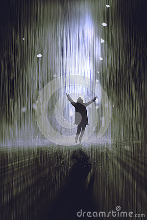 Man raising arms in the rain at night Cartoon Illustration