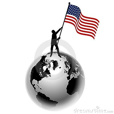 Man Raising US Flag on Earth