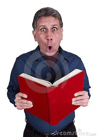Man Read Book Surprise Shock Isolated on White