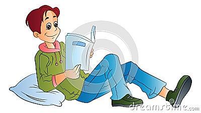 Man Reading a Book, illustration