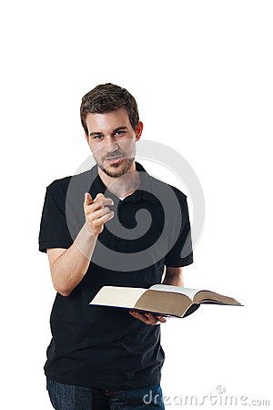 Man reading a book and pointing his finger