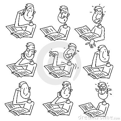 Man reading cartoon