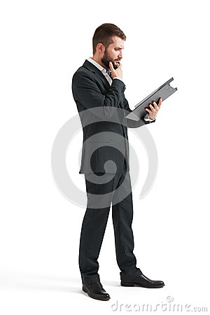 Man Reading Documents Stock Photo - Image: 57883196
