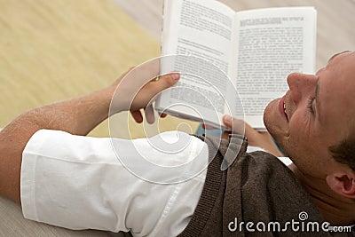 Man reading a good book
