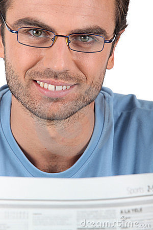 Free Man Reading The Newspaper Stock Image - 23790221