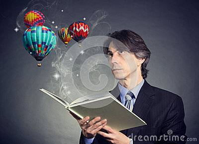 A man reads a book