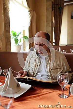 Man reads menu