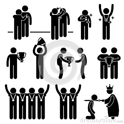 Man Receiving Award Trophy Medal Pictogram