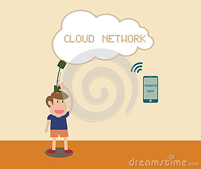 Man receiving data with smart phone via Cloud netw