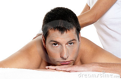 Man receiving massage relax close-up portrait