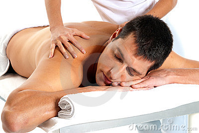 Man receiving massage relax treatment close-up