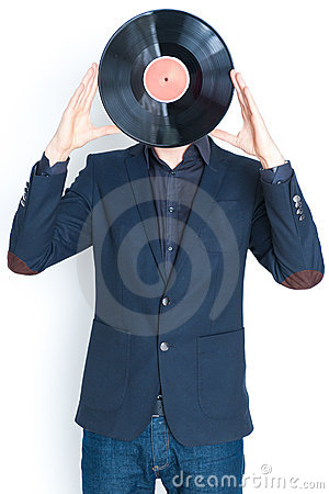 Man with record over face