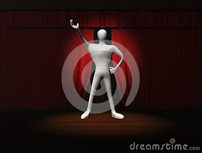 Man with red curtain and spotlight on stage