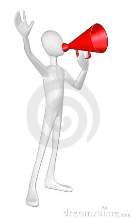 Man with red megaphone.