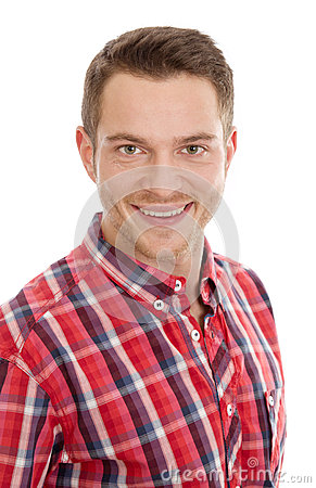 Man with red plaid shirt
