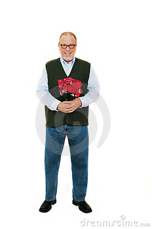 Man red roses flowers