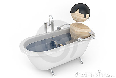Man relax in the bath