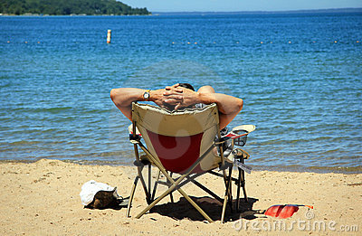 Man Relaxing on Beach