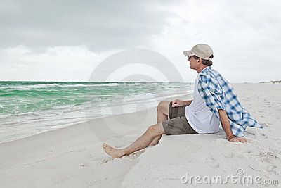 Man Relaxing on a Beautiful Beach