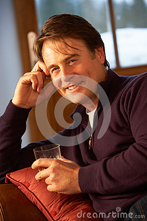 Man Relaxing Drinking Whisky