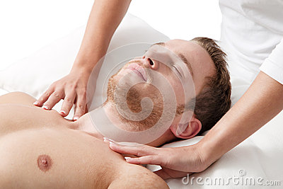 Man relaxing in massage