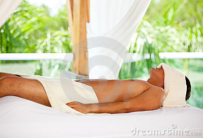 Man relaxing at a spa