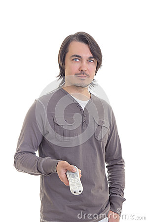 Man with remote control isolated on white