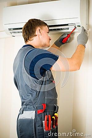 Man repair air-conditioner