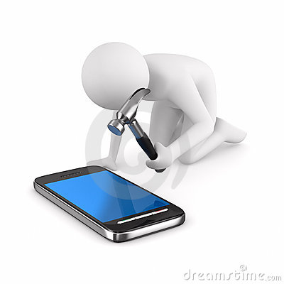 Man repairs phone. Isolated 3D image