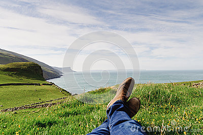 Man resting on the hill