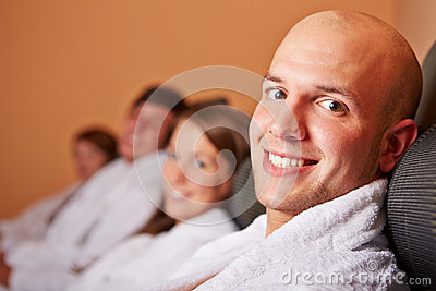 Man resting in relaxation room