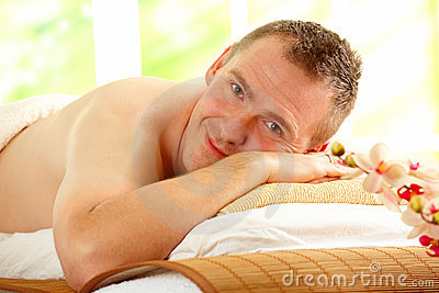 Man resting in spa salon